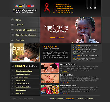 Charity website template thumb