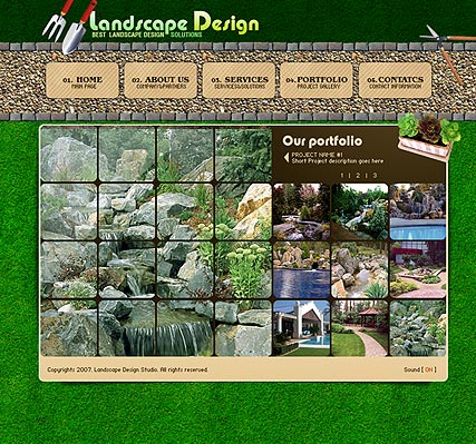Landscape design website template thumb