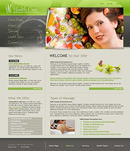 Health care website template thumb