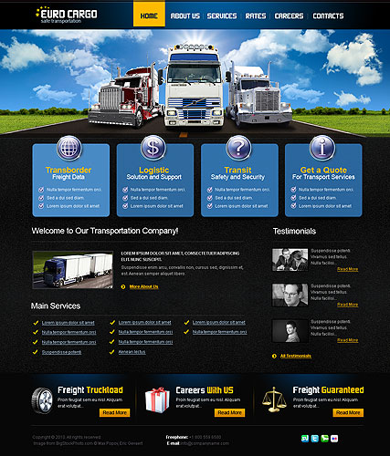 Transport website template with animated header