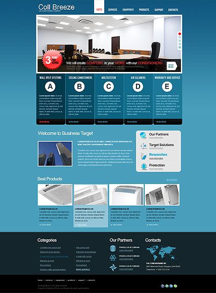 Air Conditioning jQuery template preview