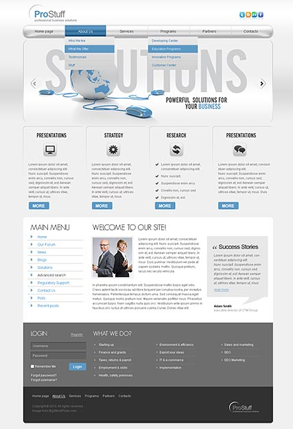 Solution website template