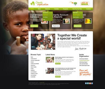 Charity joomla template preview