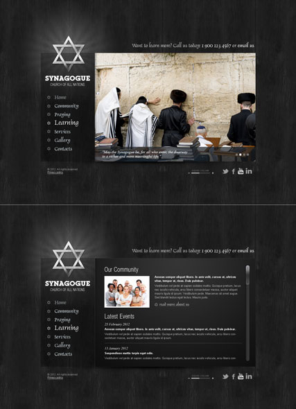 Synagogue website template thumb