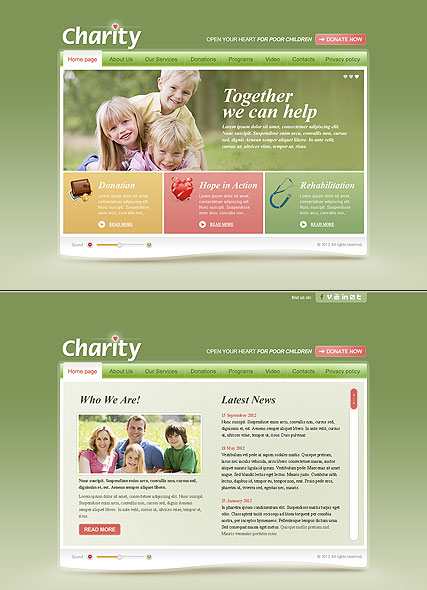 Children Charity website template thumb