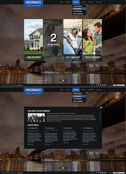 Insurance Company website template thumb