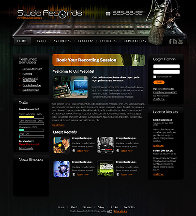 Studio Records Website template