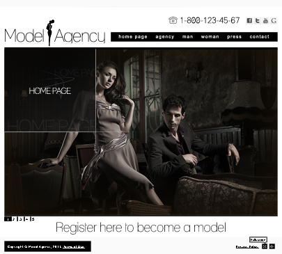 Model agency website template preview