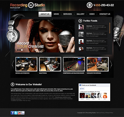 Studio Records Html5 website template thumb